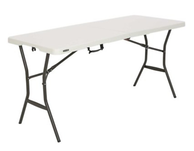 5 ft. Essential Fold-in-Half Table Portable Folding Outdoor Picnic Steel Frame