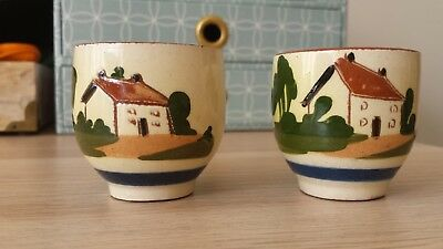pair of watcombe torquay pottery egg cups