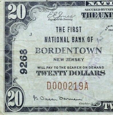 1929 $20 National Bank Note ✪ 1St National Bank Bordentown ✪ Nj 9268 ◢Trusted◣