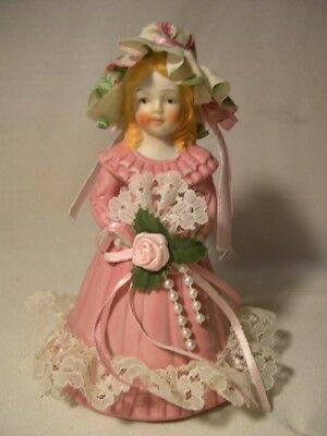 Vintage  1989 Trippies Victorian   Girl In A Gown  Porcelain   Bell