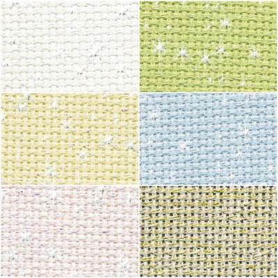 DMC Iridescent 14 count Aida-Choice of Colours and SIZES for Cross Stitch