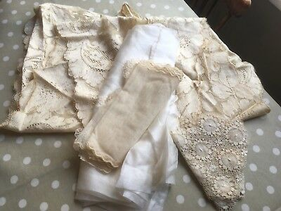 antique lace and silk pieces