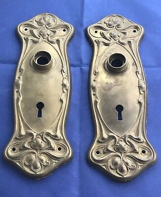 Vintage Pair Of Brass Door Knob Plates
