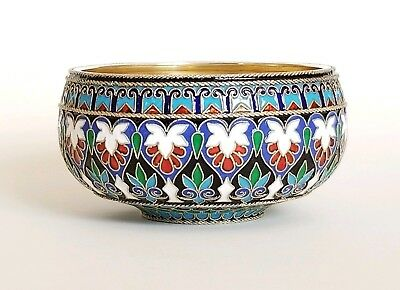 Fine Antique Russian Gilt Silver Enamel Bowl Khlebnikov