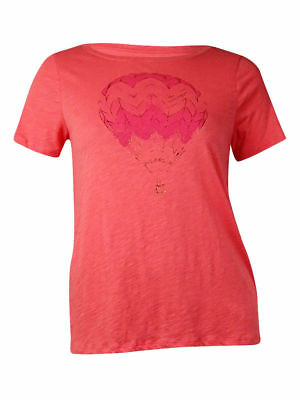 Tommy Hilfiger Women's Hot Air Balloon Graphic T-Shirt (XL, Tea Rose)