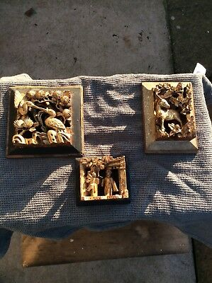 3 X Antique c.1900 Chinese Giltwood Wall Panels