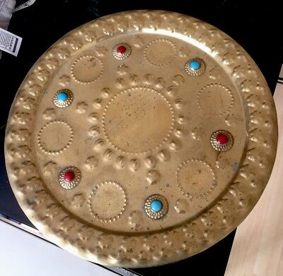 Antique Arts and Crafts Style Brass Tray with Garnet and Turquoise Cabochons