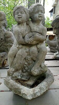 Vintage Cement Sitting Boy & Girl Holding Shell Water Fountain - Garden Statue
