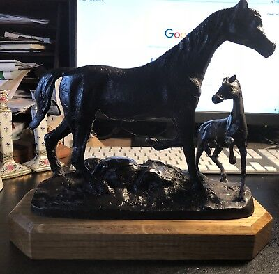Bronze Statue Of A Mare And Foal On Wooden Base