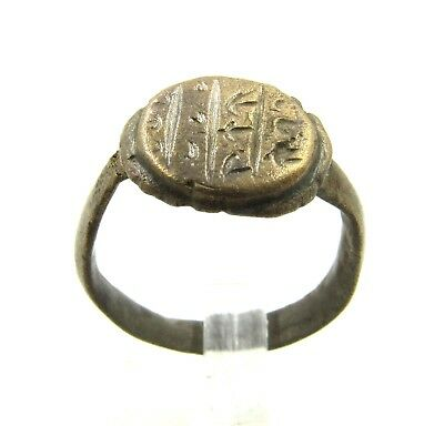 Authentic Medieval Viking Era Bronze Ring W/ Runic Decoration - Wearable - H142