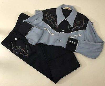 Vtg 50s 60s H Bar C Western Shirt Pant Set Pearl Snap Buttons Youth Kids 12