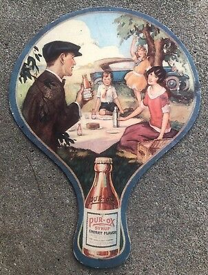 Rare Antique Moxie Syrups 1920s Art Deco Die-Cut Cardboard Advertising Hand Fan