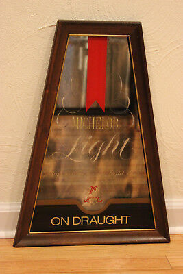 Vintage 1970's Hardwood Framed Michelob Light Beer Mirror Sign
