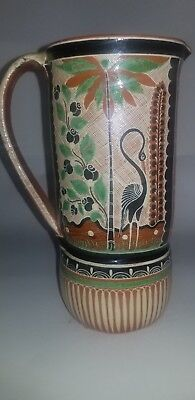 Hand painted vintage Tonala clay pitcher