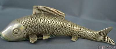 Collection Handwork Old Miao Silver Carve Goldfish Swimm Royal Home Decor Statue
