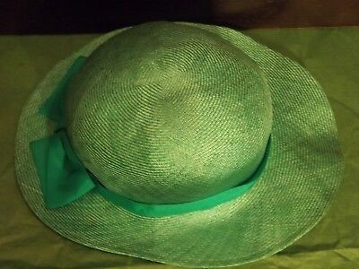 0fcfcafa31d Women Vintage LIZ CLAIBORNE ACCESSORIES Green Straw Hat w Ribbon   Bow on  Brim