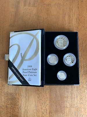 1998-W American Eagle Platinum Four-Coin Proof Set 1.85 oz. w/ Mint Box Case CoA