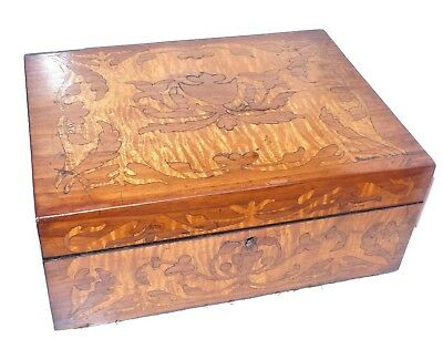 RARE Antique Early 19th Century Georgian Ladies Satinwood Marquetry Sewing Box