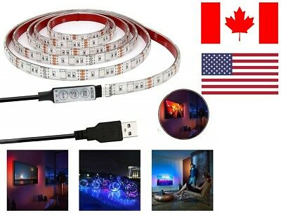 *NEW*  USB LED Light Strip 5V 3.28Ft/1M RGB Color Changing with Remote Control
