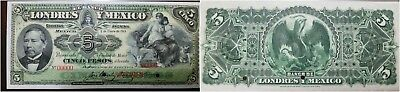 O) 1913 Mexico, Banknote -Specimen Punch 5 Pesos P.s233. Hole Cancellation And R