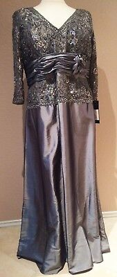 Mother of Bride Groom Dress, Formal Party Evening Long Gown Plus Size Silver 20W