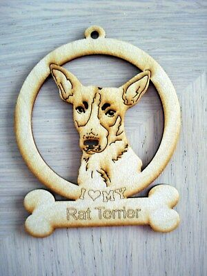 I Heart My Rat Terrier Wood Ornament New