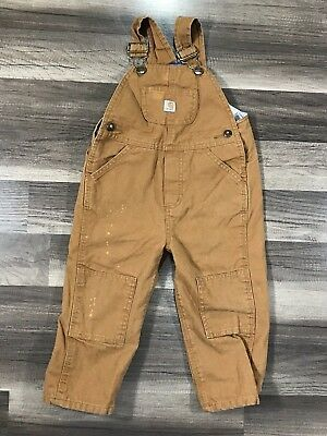 Kids Carhartt Flannel Lined Overalls Toddler Size 2T Outdoor