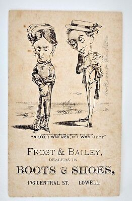 Victorian Trade Card 1875 Frost & Bailey Shoe / Boot Dealer Lowell, MA Antique