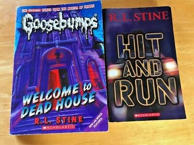 "Lot Of 2 R.l. Stine  Goosebumps Books ""hit And Run"" And ""welcome To Dead House"""