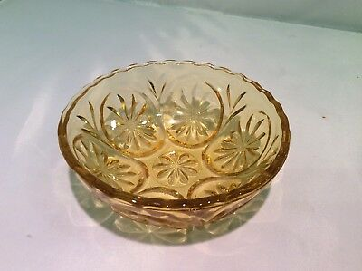 Vintage Brown Amber Glass Bowl Candy Dish Daisy Pattern Depression Glass