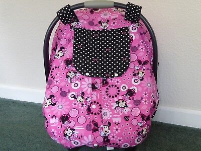 **MINNIE MOUSE**Fitted w/peekaboo & front opening Handmade Car Seat Canopy