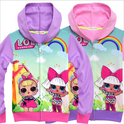 New LOL Full Zipper Hoodies Surprise Doll Cartoon Hooded Tops Clothes 3-10Years