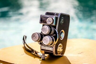Vintage BOLEX PAILLARD D-8L 8mm Movie Camera w/3 Lenses
