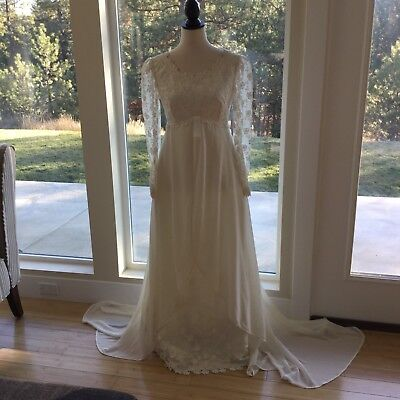 Vtg Wedding Dress Boho Off White Lace Empire Romantic Long Sleeve Made in Italy