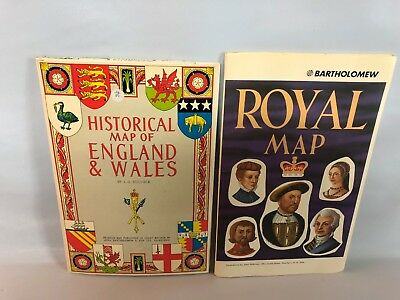Pair of Vintage Rare BARTHOLOMEW Maps of England Wales Royals Fold Out Poster