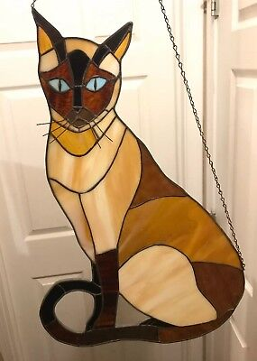 "Vintage Large Siamese Cat Stained Glass Window Suncatcher 22"" Tall 14.5"" Wide"