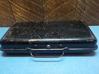 Antique Cash Metal Lock Box  Made by Armstrong MFG. Co W. Va Patented 6-29-20