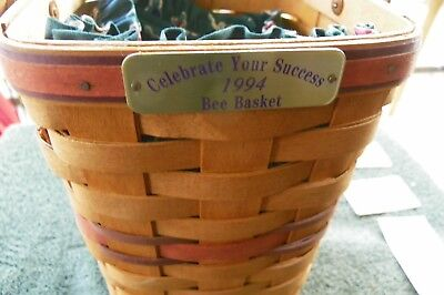 Vintage 1994 Longaberger  Bee Basket With Liner Celebrate Your Success Handle