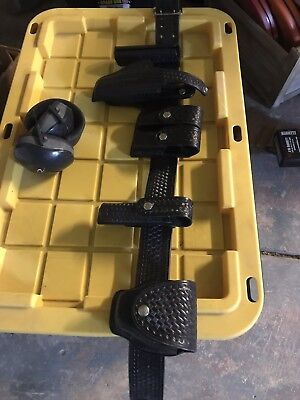 """POLICE Leather DUTY BELT & Accessories Gun holster and more 34""""waist"""