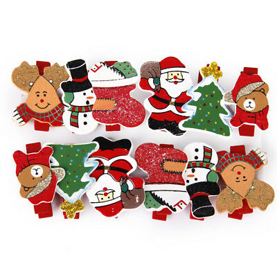 Blesiya 12pcs Cute Christmas Pattern Wooden Clips Clothespins for Xmas Gift