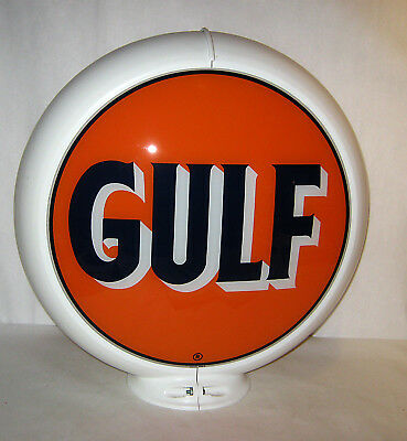 Vintage 1985 GULF Reproduction Glass Pump Globe Sign with Plastic Frame