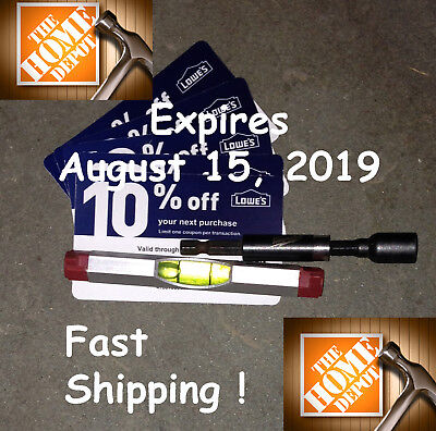 Twenty (20) Home Depot 10% off Blue Card-Coupons Expires August 15, 2019