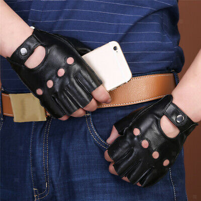 Punk PU Leather Men's Women's Fingerless Driving Cycle Gloves Unlined Short