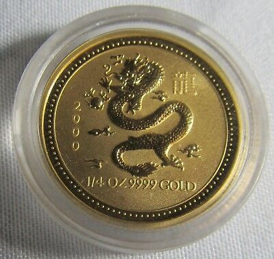 Australia 2000 $25(1/4 t/o .9999)Gold  Dragon in Plastic Capsule