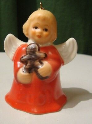 2001 Goebel ANGEL BELL ORNAMENT RED with Gingerbread Man
