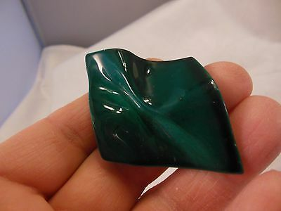 """Vtg. Green Enameled Loosely  Folded  Pin  2 1/4"""" Tall & 1 1/2"""" Wide    (A61)"""