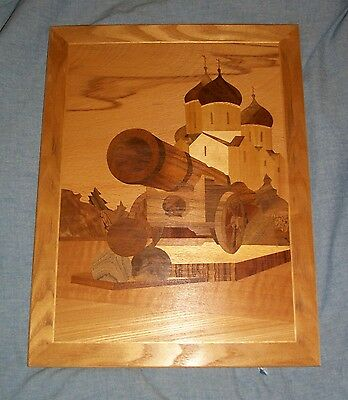 Wooden Marquetry Inlay Picture Russian Czar Moscow Canon Court Kremlin Artillery