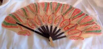 Fan Decorative Japanese Hand Painted in Pinks & Green
