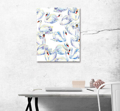"""16x20"""" Cute Swans Theme Wall Art Poster Print Living Room Decor Canvas Painting"""