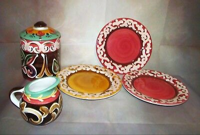 VICKI CARROLL Signed SIL/ S'IL VOUS PLAIT SERIES LOT. PLATES, CREAMER & CANISTER